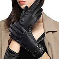 Leather Gloves Women, Fleece Lined Winter Warm Gloves with Full-Hand Touchscreen