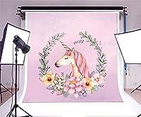lfeeyユニコーン10x 10ft写真背景漫画花Wreathパープル背景ベビーシャワー子供誕生日パーティー写真バックドロップPhoto Studioプロップ