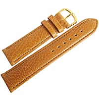 Flucoレコードbuffalo-grain 16mmタンレザーゴールドバックルメンズ腕時計ストラップ