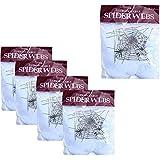 WasonGrew 5 Packs Super Stretch Spider Web Cobwebs with Plastic Spiders Indoor/Outdoor Halloween Decoration