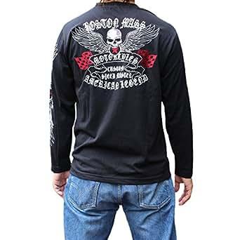 【LT1631】バイカードクロ刺繍長袖Tシャツ ドクロ柄!! 和柄ロンT 和柄Tシャツ 和柄刺繍Tシャツ ロングTシャツ長袖刺繍VANSONバンソンよりお買い得 (M, ブラック)