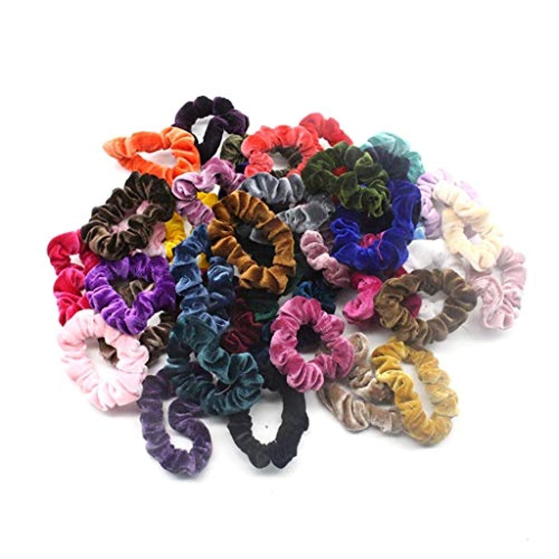 アルファベット順うぬぼれたぞっとするような40個ベルベットヘアライン 弾性ヘアバンド ソフトヘアケア 明るい色 複数の色 (多色)