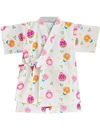 [スゴフィ]SGFY  ガールズ 甚平 子供 女の子 パジャマ 綿 半袖 部屋着 旅館 寝間着 寝巻き パンツ 上下 2点セット てんとう虫 カラフル クローバー 蝶
