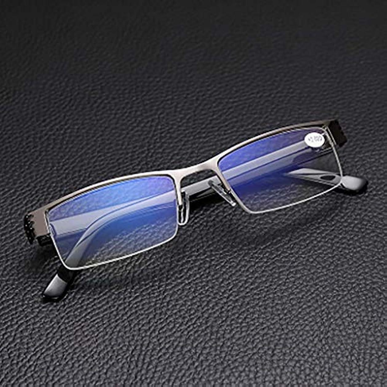 半分フレームの老眼鏡,反青の光 アンチ uv ビジネス リーダー 金属製のフレーム 樹脂レンズ-A +2.5