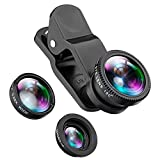 MUSON (ムソン) スマホ セルカレンズ [メーカー直販/1年保証付] 3点セット(魚眼レンズ+マクロレンズ+広角レンズ) 高画質 クリップ式 自撮りレンズ カメラレンズキット A1 ブラック