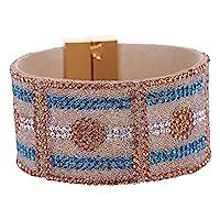 Sanwood Lady 's Fauxレザーラインストーンワイドバングル磁気バックルブレスレットファッションジュエリー(ブルー)
