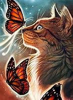 A3サイズ 茶トラ猫と赤アゲハ ダイヤモンドアート /全面貼り付けタイプ/四角型(スクエア)/モザイクアート/手芸キット