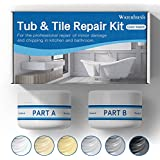 Tub, Tile and Shower Repair Kit (Color Match) White/Almond/Black/Bone/Bisque/Biscuit/Grey/Cream/Off White/Beige, Odorless Bathtub Paint/Fiberglass Repair Kit, Porcelain Repair Kit