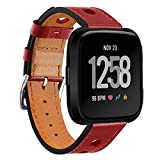 ELTD Fitbit Versa ベルト交換バンド本革 牛革レザー 高級 柔軟 高耐久性 交換用Fitbit Versa バンド高級 ステンレス 長さ調節 全6色 レッド
