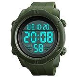 R-timer(アールタイマー) 腕時計 メンズ デジタル 防水 多機能 スポーツウォッチ led 時計 ストップウォッチ アラーム機能 12/24時刻切替え 日付表示 (アーミーグリーン)