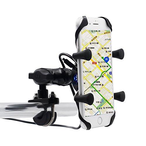 BlueFire バイク用スマートフォンホルダー 落下防止 360度回転調整可能 アルミニウム材質 二重保護