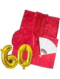 YOU+ 還暦 ちゃんちゃんこ 赤い 3点セット+バルーン付 高級生地 鶴亀模様 還暦祝い
