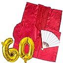 YOU 還暦 ちゃんちゃんこ 赤い 3点セット バルーン付 高級生地 鶴亀模様 還暦祝い