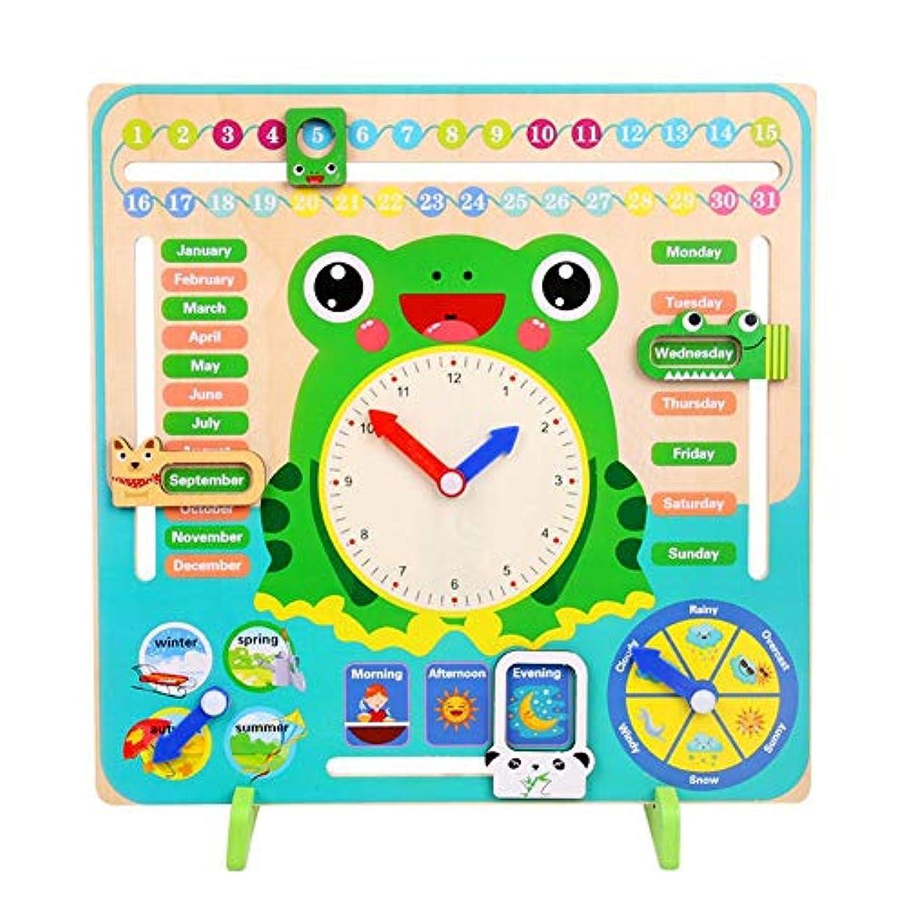 一流定義する保有者認知カレンダー クロック 木製時計 カレンダーボード 教育時計 ショーカレンダー チャート 日付 シーズン 天気 キッズ 多機能 キッズ 幼児 子供 パズル ウッドクロック 知育玩具