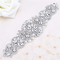 """FANGZHIDI Beaded Applique with Rhinestones and Pearls for Wedding Sash or Head 3 Colors-1 Piece(6.1""""2""""in) (Sliver)"""