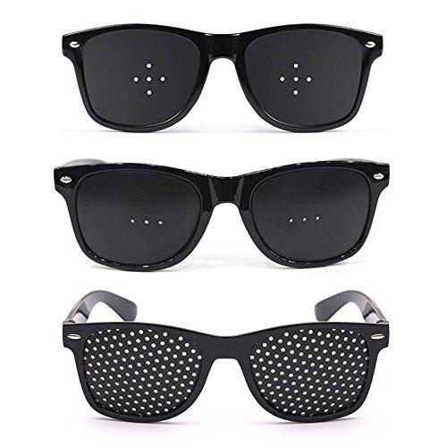 ピンホールメガネ 視力回復 視力トレーニング 眼筋力アップ 近視/遠視/老眼/乱視の改善 フリーサイズ 眼筋力アップ 男女兼用 3種 (全穴・5穴・3穴)