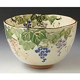 京焼・清水焼 陶器抹茶碗 ぶどう 紙箱入 Kiyomizu-kyo yaki ware. Japanese Matcha chawan teabowl grape with paper box. Ceramic.