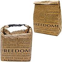 プライムナカムラ ニュースペーパーデザイン 不織布 保冷バッグセット (クラフト保冷バッグ Mサイズ、バックル付きクラフトバッグ)