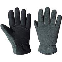 OZERO 冬用手袋 手のひら側は柔らかな鹿革スエード 手の甲側はふわふわのポーラーフリース 暖かい手袋 男女兼用 Heatlok断熱コットン層構造 デニムブラック