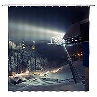 冬の屋外夜景浴室の窓の装飾のための生地のホックが付いているポリエステル防水シャワー・カーテン60X72in