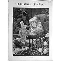1883 のトロッコのクリスマスの愉快な女の子の子供の人形の印刷物