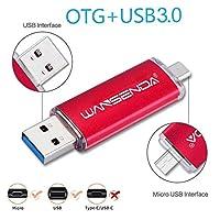 フラッシュドライブUSB 3.0wansenda d101Android OTGフラッシュドライブ128GB 64GB 32GB 16GB for PC / Mac。。。 32GB レッド WSD-D101-Red-32G