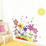 カラフルの花 太陽 蝶 ウォールステッカー 花 wall sticker ウォールペーパー 壁紙 ウォールシール 50*70cm