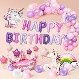 風船 誕生日 飾り付け 3D ユニコーン パーティー風船 セット(63点セット)パーティ HAPPY BIRTHDAY アルファベット 可愛い 虹&雲 ユニコーン 空気入れ付き 子供用ラテックス&ホイルバルーンデコレーションキット
