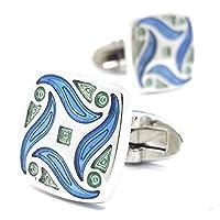 MFYS Jewelry 高品質「S」シリーズ 海の 波 高級エナメルカフス(カフスボタン・カフリンクス) 【専用収納ケース付き】