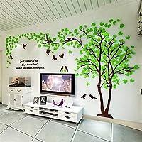 Juexianggou 3DウォールステッカーデカールツリーアクリルミラーDIY TVの背景壁のポスター家の装飾 (Color : Light Green RIGHT, サイズ : XL about 4x2m)