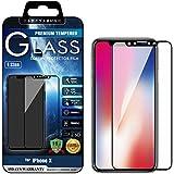 [BEGALO] iPhone X ガラスフィルム 0.33mm 硬度9H 日本製素材 指紋防止 高感度タッチ 高透過率 飛散防止 3Dtouch対応 気泡ゼロ 自己吸着 2.5D TGP-FC-IX-625 iPhoneX ブラック (全体ガラス製)