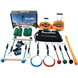 BRAVEWAY Slackline Kit Obstacle Course with 40-ft Slackline Included 40-ft Training Line Monkey Bars Protective Gloves Tree Protectors Balance Training Equipment Gift Set for Kids and Adults