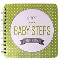 NEW! Baby First Year Memory Mini Book. Minty Green Modernista(TM), Poly Cover Hand Made. Intimate, travel size memory keeper record book and journal for Boy or Girl. 5x5 - Best Shower Gift! by Baby Steps Book