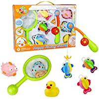 Bath Toys Fishing Game with Fishing Net Poles Rods Fishes Bathtime Tub Water Toy 8 PCSGreat Gift-wrap for Baby Kids Toddlers Girls Boys 18 Months and UpRandom Color [並行輸入品]