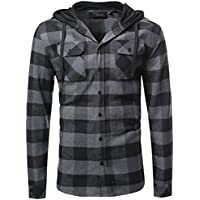 Youstar Men's Plaid Flannel Long Sleeves Button Closure Shirt