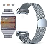 for Fitbit Ionic Bands, Hotodeal Milanese Loop Stainless Steel Mesh Replacement Band, with Black Silicone Strap for Ionic, Adjustable Fitness Strap for Fitbit Ioinic, Gray Large