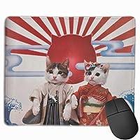 着物猫カップル マウスパッド ゲーミング ゲームオフィス 高級感 おしゃれ 防水 耐久性が良い 滑り止めゴム底 適用 マウスの精密度を上がる