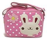 ポップンロール 通園バッグ H18×W24×マチ11cm ウサギ 保育園 幼稚園 バッグ (ピンク)
