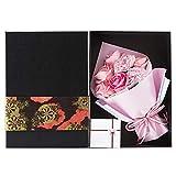 KIZAWA ソープフラワー フラワーギフト 枯れない花 フラワーボックス 誕生日 プレゼント バレンタイン ホワイトデー 母の日 敬老の日 ギフト 結婚記念日 お祝い など 大切な人に 感謝の気持ちを伝える 花束 (7本ピンク&黒ボックス)