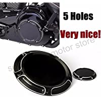 Motorcycle AN Derby Timing Timer Cover For Harley Road King Softail Dyna FLHRS FLTFB CNC Beveled Black 5 holes