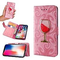 可愛い ワイングラス 砂入り iPhonex iPhone8 iPhone7 iPhone6s Plus ケース 手帳型 キラキラ アイフォン ギャラクシー ケース 女性 人気PODITAGI (iPhoneX, ピンク)
