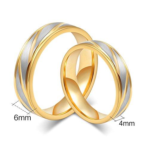 Rockyu ジュエリー ペアリング メンズ レディース リング ゴールド エンゲージ リング 結婚 指輪 (女9)