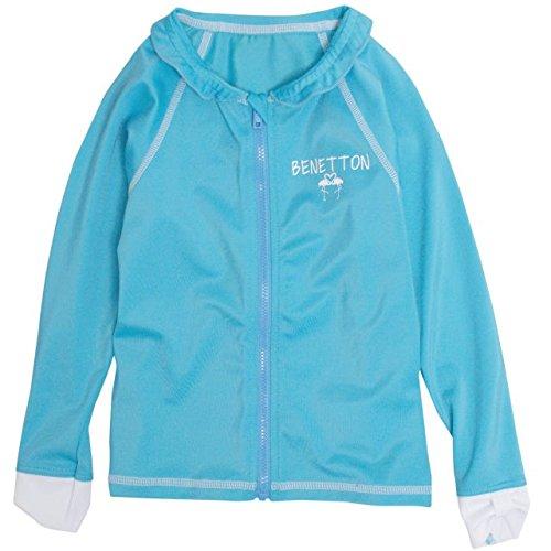 BENETTON(ベネトン)ラッシュガード水着子供キッズ女の子UVパーカースイムシャツサックス130cm