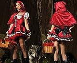 【ELEEJE】ハロウィン コスチューム 赤ずきんちゃん 衣装 & かぼちゃパンツ ネイル タトゥーシール 6点セット レディース (フリー, 赤)