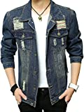 (ゆうや)YoYeah 長袖 上着 メンズ レジャー ダメージデニム ショールコート ファッション 開襟 ジャケット 無地 アウター blue M