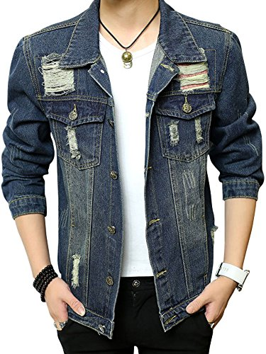 (ゆうや)YoYeah 長袖 上着 メンズ レジャー ダメージデニム ショールコート ファッション 開襟 ジャケット 無地 アウター blue XXXL
