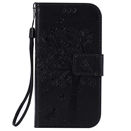 Galaxy S4 ケース CUSKING 手帳型ケース PUレザー カードポケット全面保護 フリップ カバー 落下防止 衝撃吸収 財布型 ギャラクシ S4 対応 - ブラック