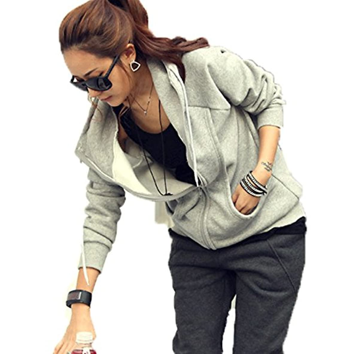 将来の取り替える上がる[ココチエ] レディース パーカー シンプル ジップアップ 綿 フード かっこいい 長袖 おしゃれ カジュアル M L XL グレー ブラック