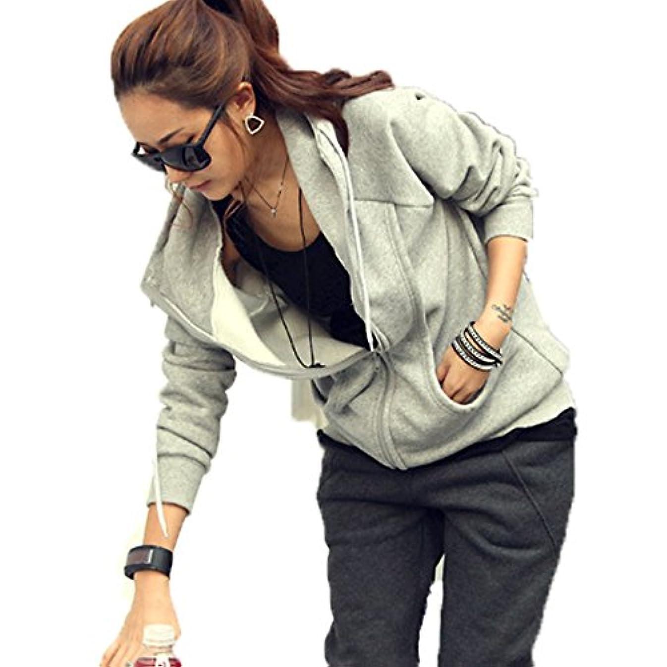 生きるオプショナル打ち負かす[ココチエ] レディース パーカー シンプル ジップアップ 綿 フード かっこいい 長袖 おしゃれ カジュアル M L XL グレー ブラック