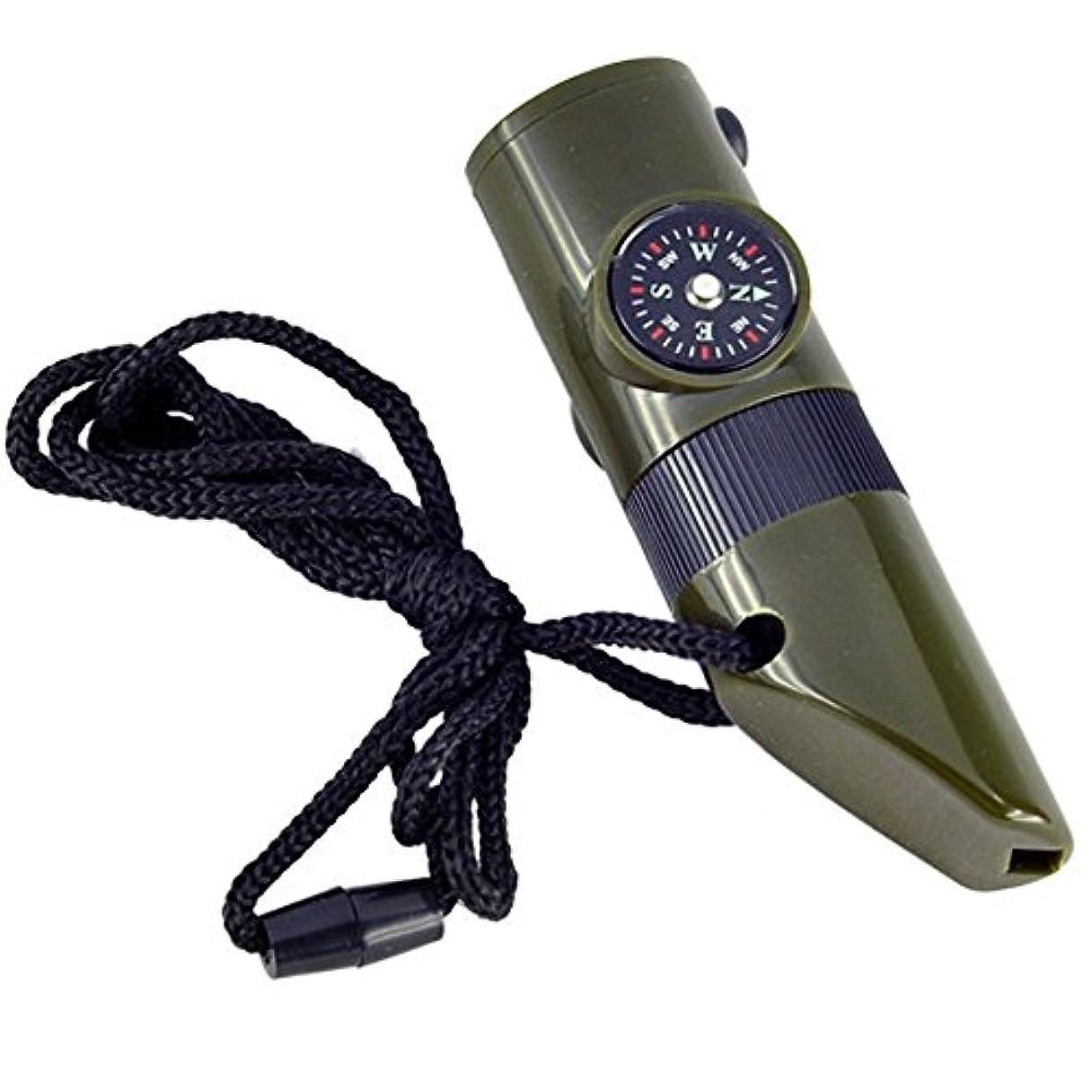 影麻酔薬アーネストシャクルトンホイッスル,SODIAL(R)7イン1 ミリタリースタイルの緊急ホイッスル サバイバルキット コンパス 温度計LCD